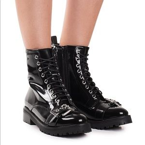 Jeffrey Campbell Slam Military Boot Black Size 8.5